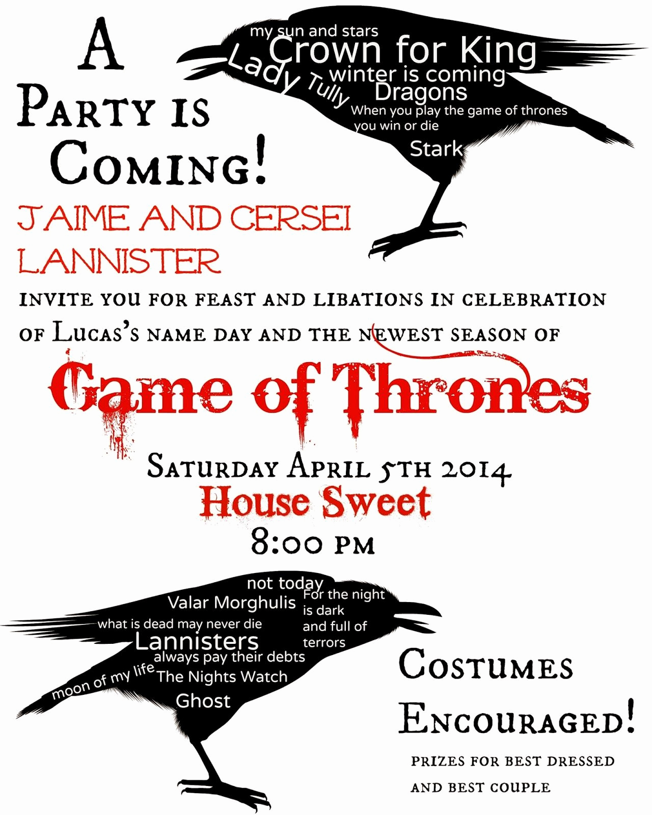 Game Of Thrones Party Invitation Luxury Game Of Thrones themed Party Invitation