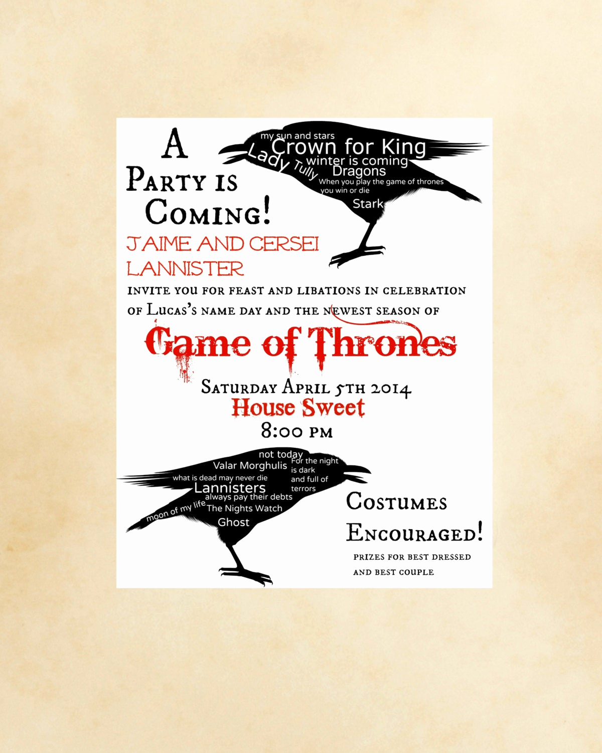 Game Of Thrones Party Invitation Unique Game Thrones Party Invitation