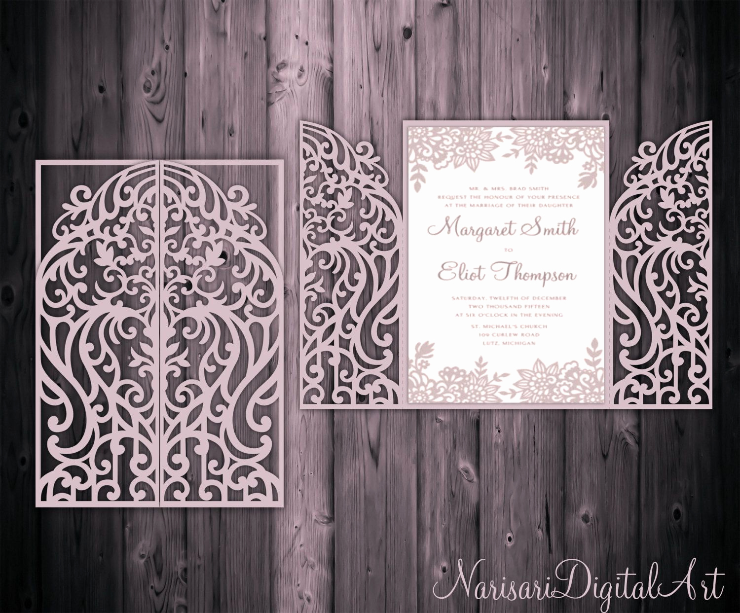 Gate Fold Invitation Template Awesome 5x7 Gate Fold Door Wedding Invitation Card Template