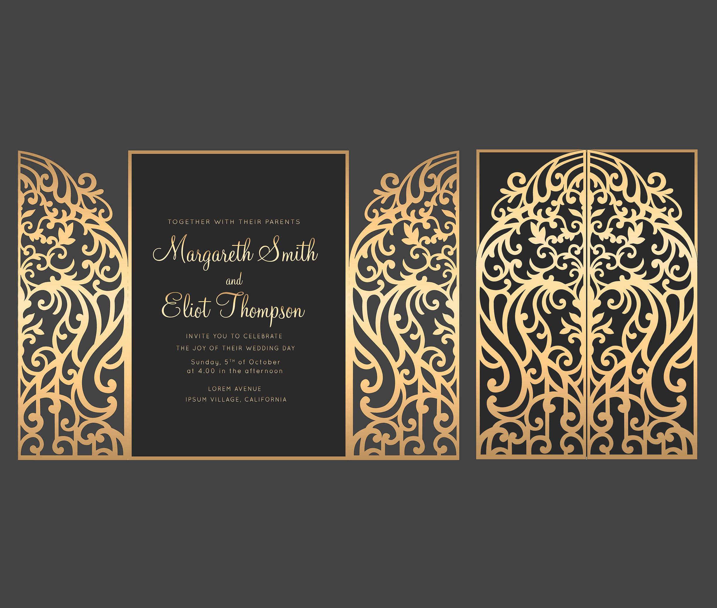 Gate Fold Invitation Template Awesome 5x7 Gate Fold Door Wedding Invitation Card Template