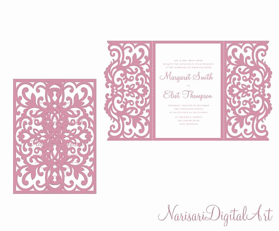 Gate Fold Invitation Template Awesome Gate Fold Wedding Quinceanera Invitation Laser Cut Card