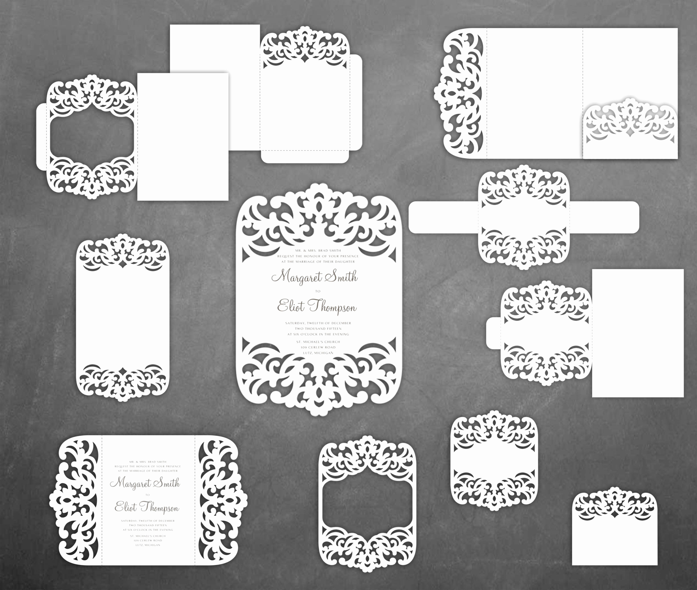 Gate Fold Invitation Template Beautiful Set Lace Wedding Invitation Templates Pocket Gate Fold