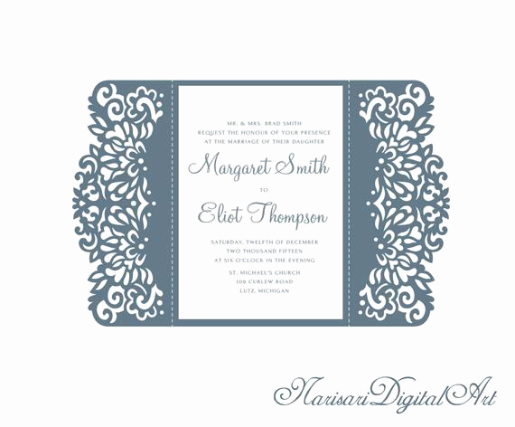Gate Fold Invitation Template Elegant 5x7 Gate Fold Wedding Invitation Card Template Quinceanera