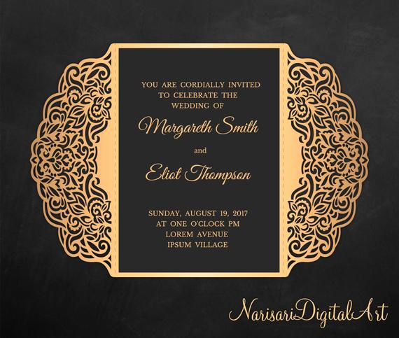 Gate Fold Invitation Template Fresh Gate Fold Laser Cut Wedding Invitation Template