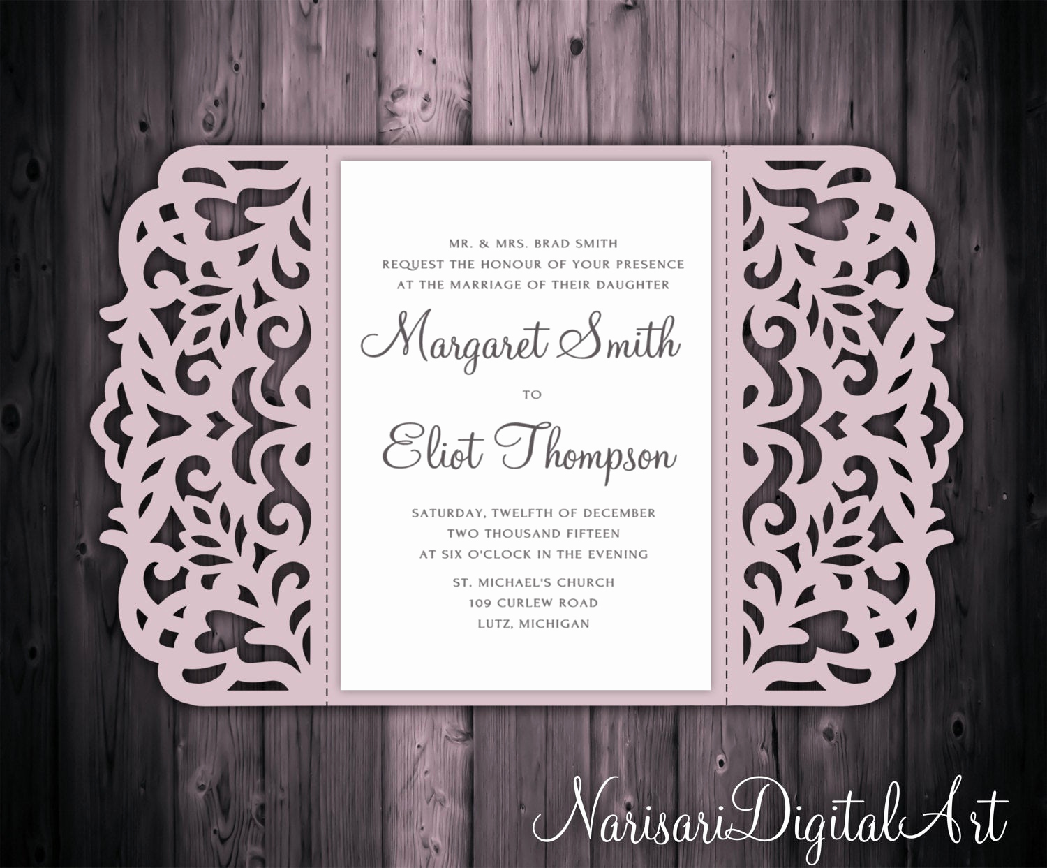 Gate Fold Invitation Template New 5x7 Gate Fold Wedding Invitation Card Template