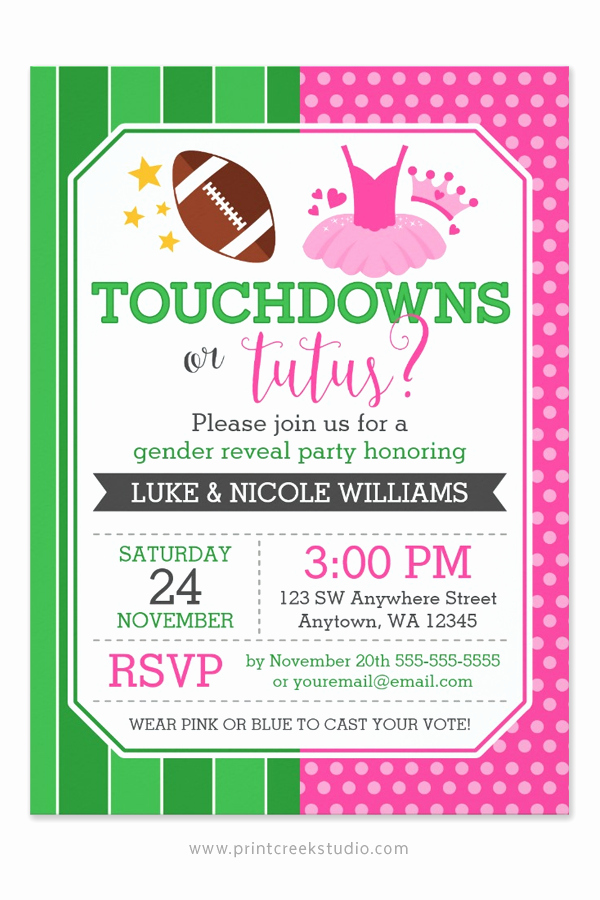 Gender Reveal Invitation Ideas Awesome touchdowns or Tutus Gender Reveal Party Invitations