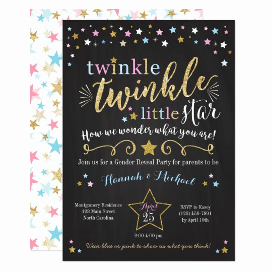Gender Reveal Invitation Ideas Awesome Twinkle Twinkle Little Star Gender Reveal Invite
