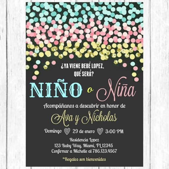 Gender Reveal Invitation Ideas Best Of Blue Pink Gold Confetti Gender Reveal Spanish Invitation