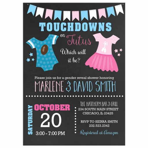 Gender Reveal Invitation Ideas Best Of touchdowns or Tutus Gender Reveal Baby Shower Invitations