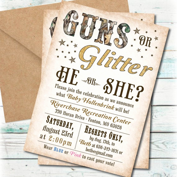 Gender Reveal Invitation Ideas Inspirational Printable Guns or Glitter Gender Reveal Party Invitation