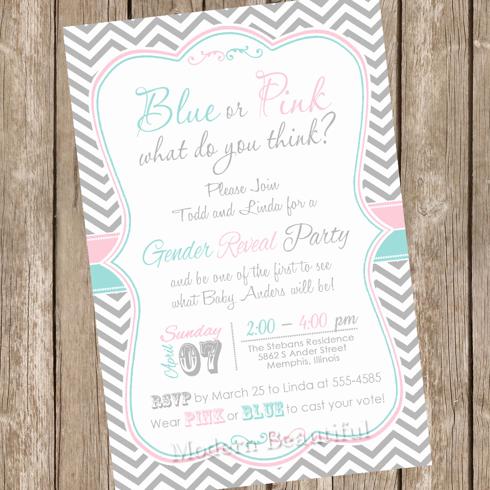 Gender Reveal Invitation Ideas Lovely Chevron Gender Reveal Invitation Baby Reveal Invite Printable