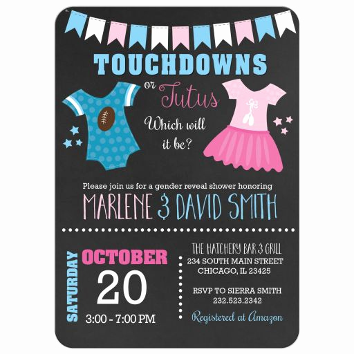 Gender Reveal Invitation Ideas Lovely touchdowns or Tutus Gender Reveal Baby Shower Invitations