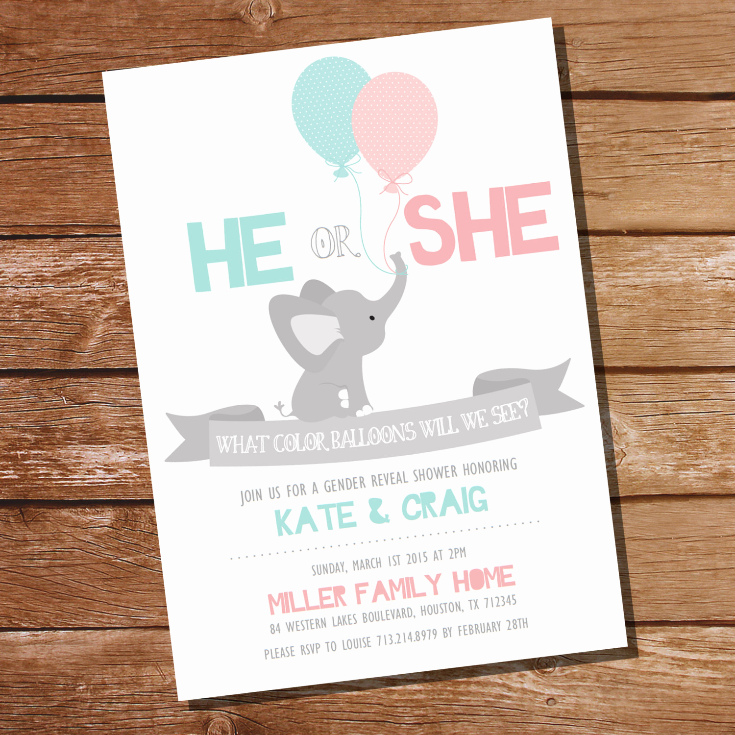 Gender Reveal Invitation Ideas Luxury He or She Gender Reveal Party Invitation Elephant Gender