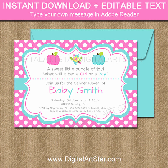 Gender Reveal Invitation Template Best Of Pumpkin Gender Reveal Invitation Template Printable Gender