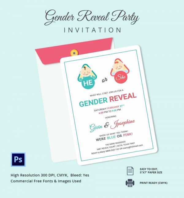 Gender Reveal Invitation Template Elegant Gender Reveal Invitation Templates