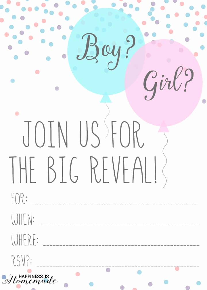 Gender Reveal Invitation Template Fresh Baby Gender Reveal Party Ideas Happiness is Homemade