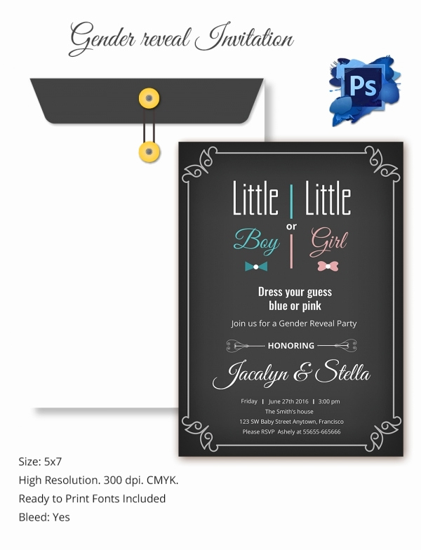 Gender Reveal Invitation Template Lovely Gender Reveal Invitation Templates