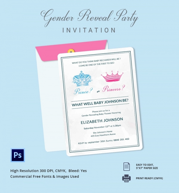 Gender Reveal Invitation Template Luxury Gender Reveal Invitation Templates