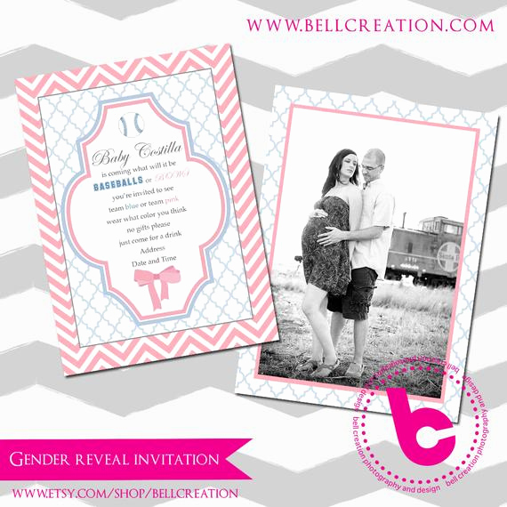 Gender Reveal Invitation Template Luxury Gender Reveal Party Invitation Template 5x7 by Bellcreation