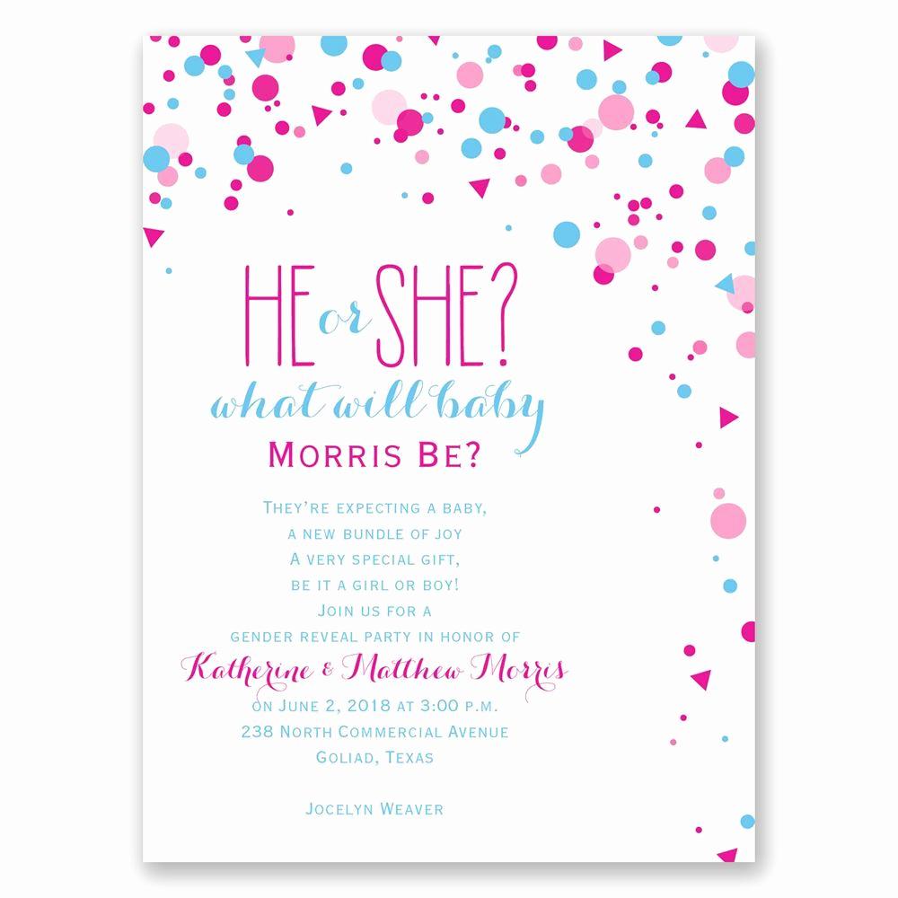 pretty confetti petite gender reveal invitation