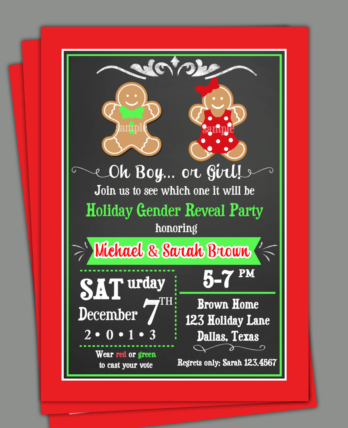 Gender Reveal Invitation Wording Best Of Christmas Gender Reveal Invitation Printable or Printed with