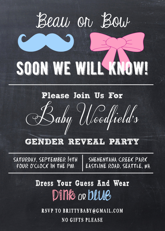 Gender Reveal Invitation Wording Inspirational Gender Reveal Party Invitation Beau or Bow by