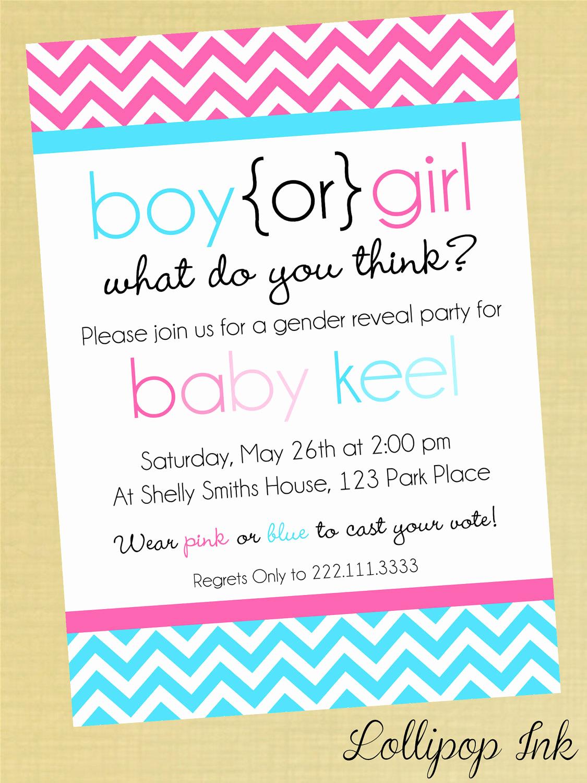 Gender Reveal Invitation Wording Lovely Items Similar to Gender Reveal Chevron Baby Shower