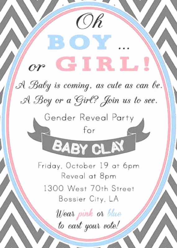 Gender Reveal Invitation Wording Luxury Chevron Pink and Blue Modern Gender Reveal Party by