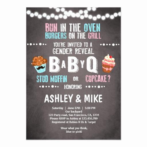 Gender Reveal Invitation Wording Luxury Gender Reveal Invitation Babyq Bbq Couples Shower