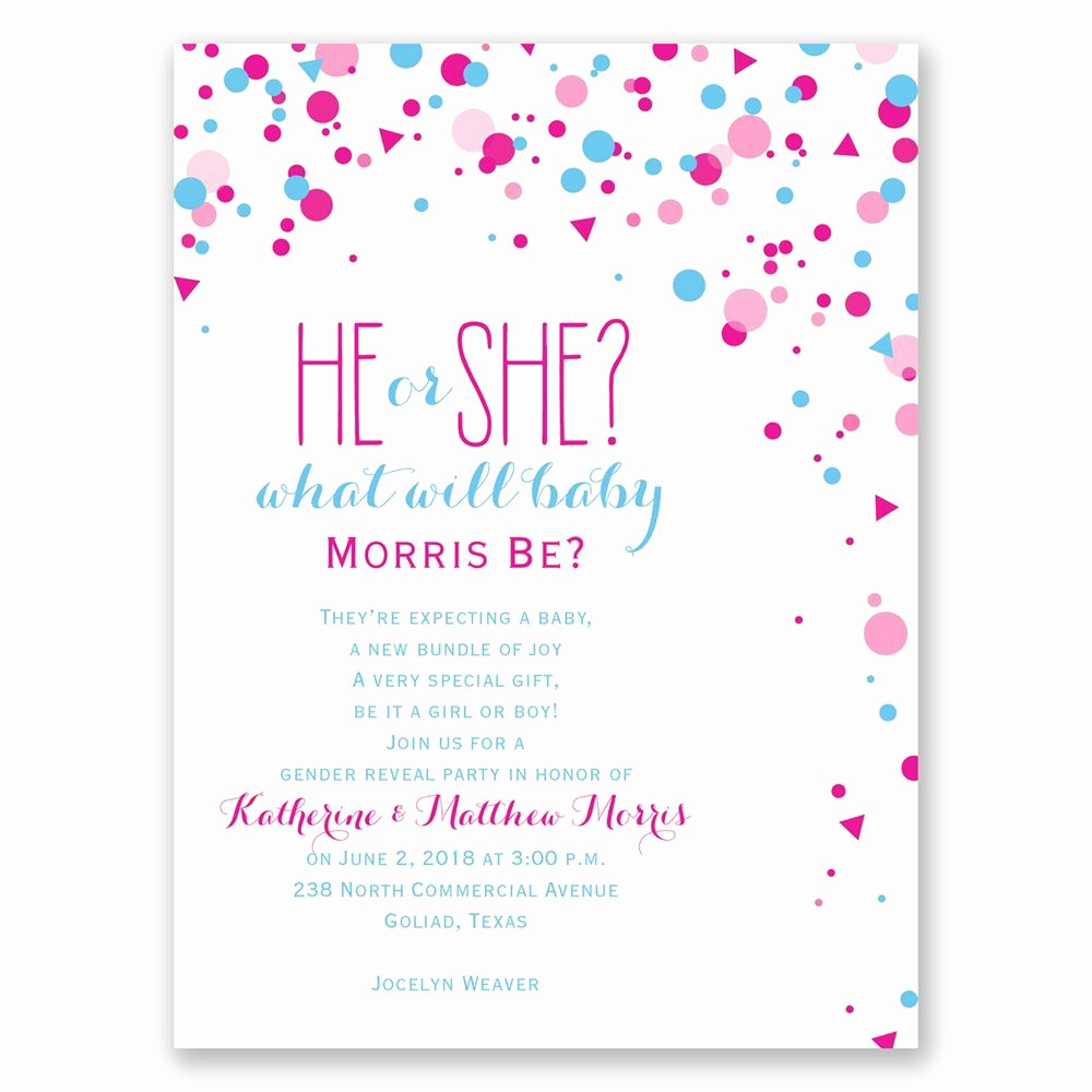 Gender Reveal Party Invitation Wording Awesome Pretty Confetti Petite Gender Reveal Invitation
