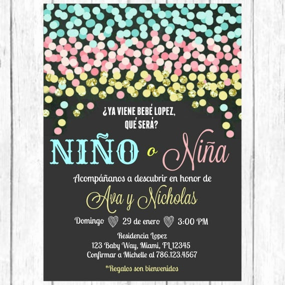 Gender Reveal Party Invitation Wording Beautiful Blue Pink Gold Confetti Gender Reveal Spanish Invitation