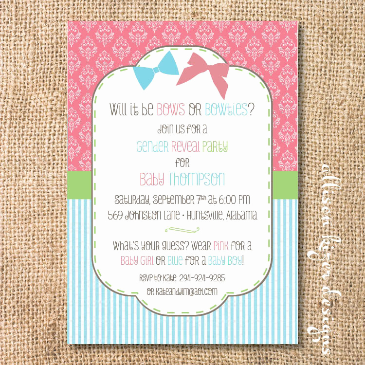 Gender Reveal Party Invitation Wording Elegant Gender Reveal Invitation Bows or Bowties Bow or Beau Printable