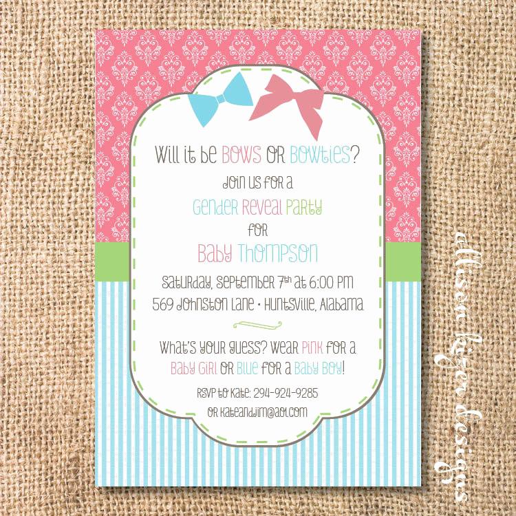 Gender Reveal Party Invitation Wording Elegant Gender Reveal Invitation Bows or Bowties Bow or Beau Printable
