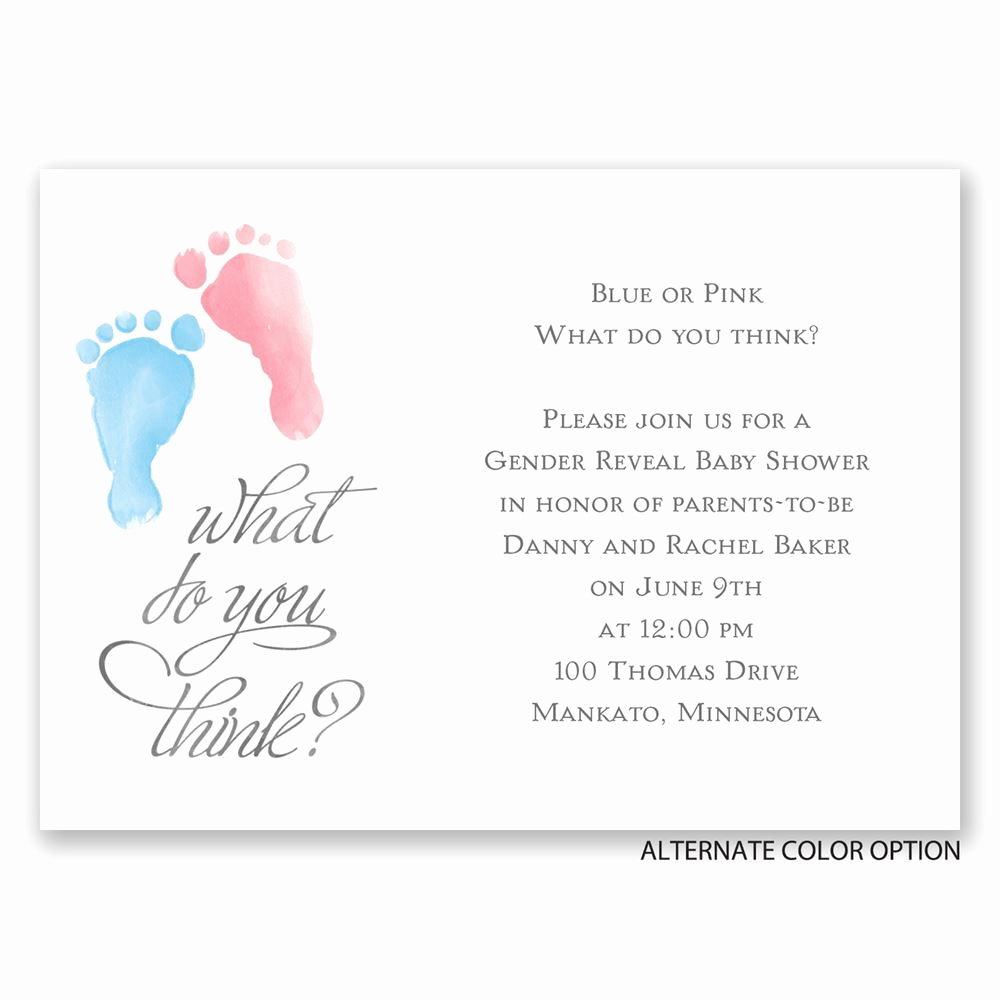 Gender Reveal Party Invitation Wording Fresh Baby Feet Mini Gender Reveal Invitation