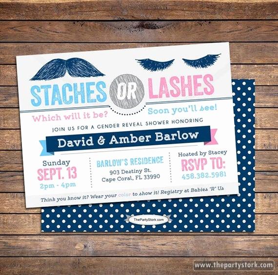 Gender Reveal Party Invitation Wording Inspirational Gender Reveal Invitation Staches or Lashes Gender Reveal