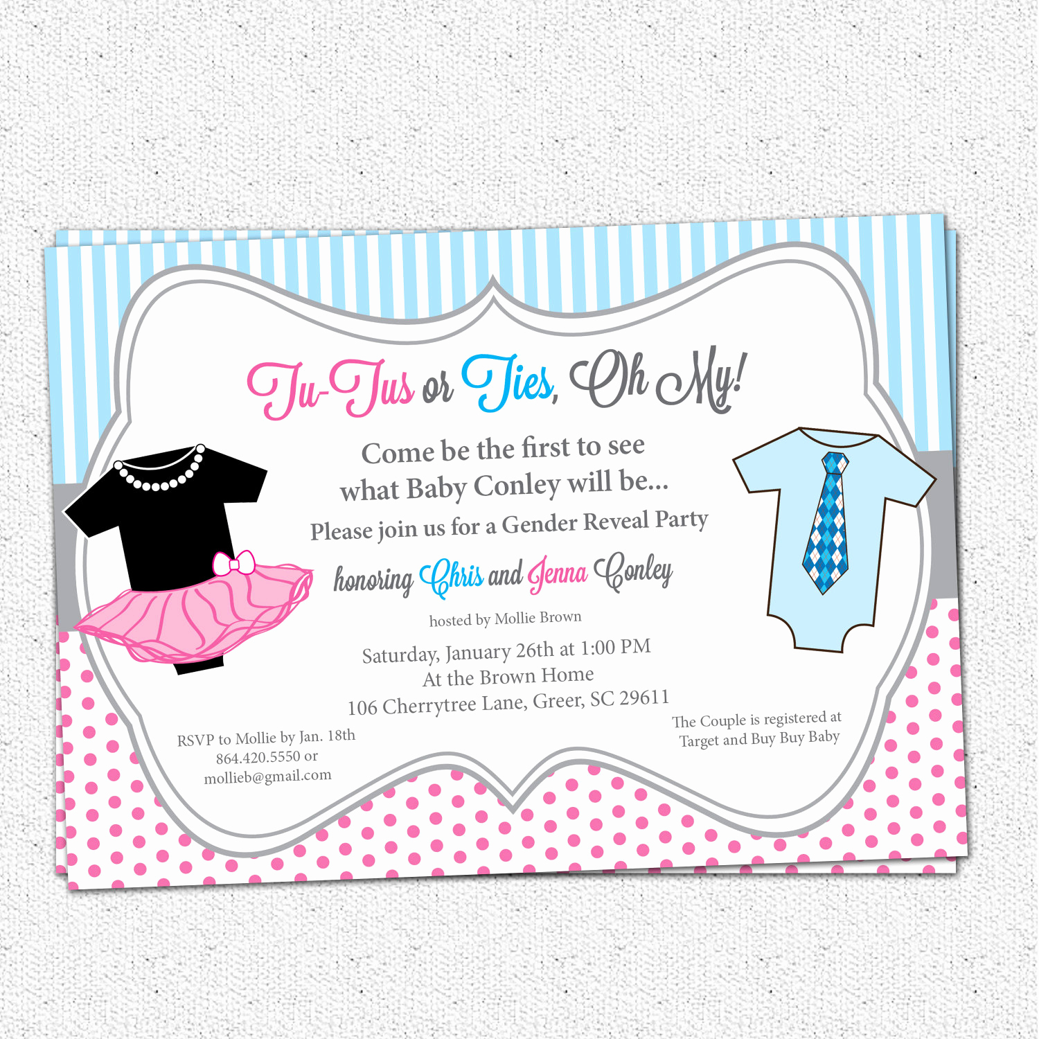 Gender Reveal Party Invitation Wording Lovely Tutus or Ties Gender Reveal Baby Shower Party Invitation