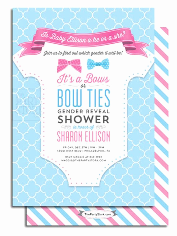 Gender Reveal Party Invitation Wording Luxury Gender Reveal Party Invitation Printable Bows or Bowties