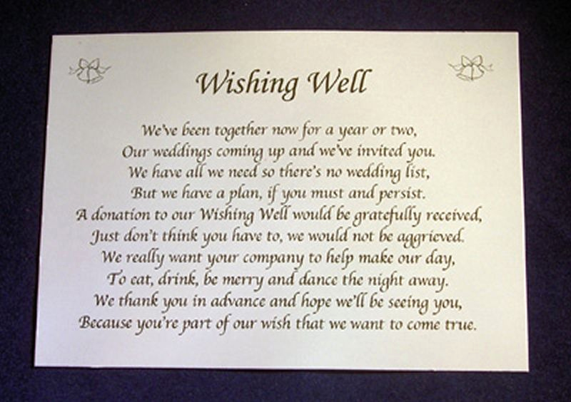 Gift Card Invitation Wording Awesome Personalised Wishing Well Money Request Poem Gift Cards
