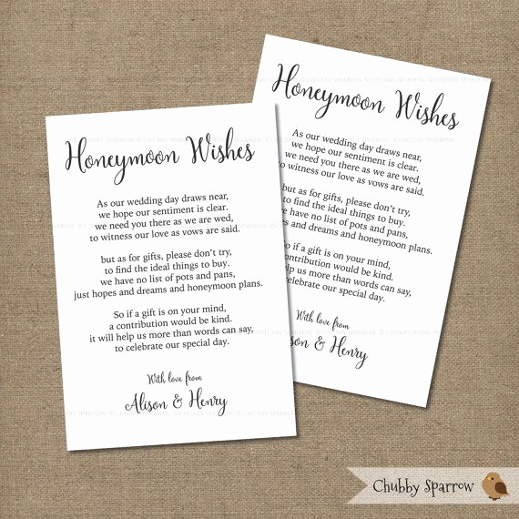 Gift Card Invitation Wording Awesome Wedding Gifts List Card Information Honeymoon Fund 4x6