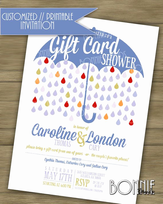 Gift Card Invitation Wording Beautiful Customized Printable Couple S Wedding Shower
