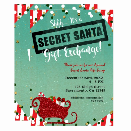 Gift Card Invitation Wording Beautiful Secret Santa Gift Exchange Christmas Holiday Party