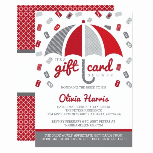 Gift Card Invitation Wording Luxury Gift Card Bridal Shower Invitation Red Gray