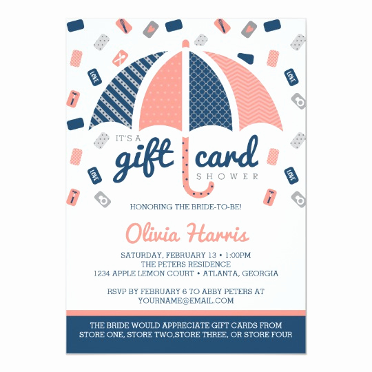 Gift Card Shower Invitation Awesome Gift Card Bridal Shower Invitation Navy Coral