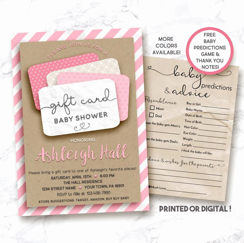 Gift Card Shower Invitation Awesome Gift Card Shower Invitation Gift Card Baby Shower Gift