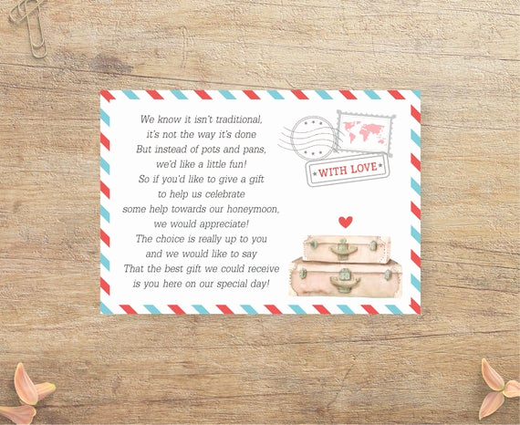 Gift Card Shower Invitation Beautiful Honeymoon Fund Request Travel Wedding Insert Invitation