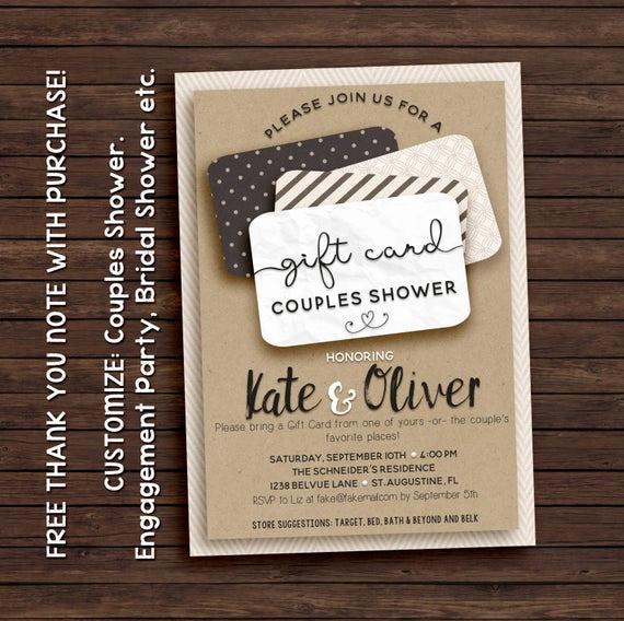 Gift Card Shower Invitation Elegant Gift Card Shower Invitation
