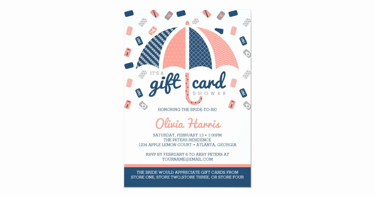 Gift Card Shower Invitation Inspirational Gift Card Bridal Shower Invitation Navy Coral