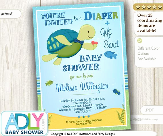 turtle diaper t card baby shower