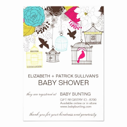 Gift Card Shower Invitation Lovely Colorful Birdcages Baby Shower Gift Registry Card