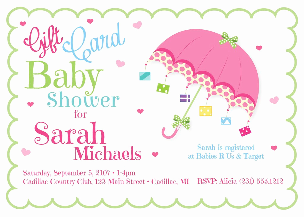 Gift Card Shower Invitation Luxury Gift Card Baby Shower Invite Baby Shower Invitations